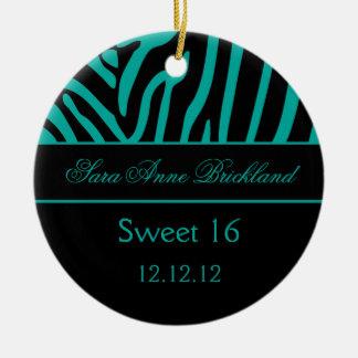 Round Ornament Teal Black Zebra Sweet 16