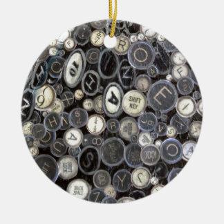 Round Ornament - Typewriter Keys