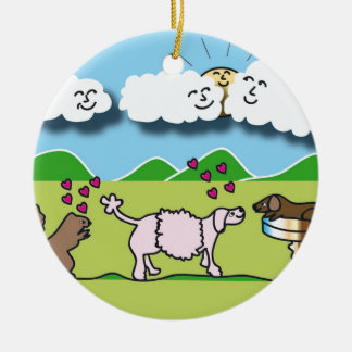 Round Ornament with Cute Animals