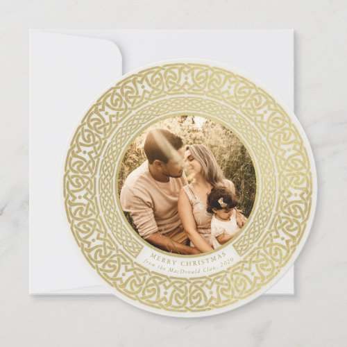Round Oyster+Faux Gold Celtic Holiday Photo Card
