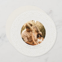 Round Oyster + Off White Celtic Holiday Photo Card