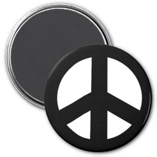 Round Peace Sign Magnet, Black on White Magnet