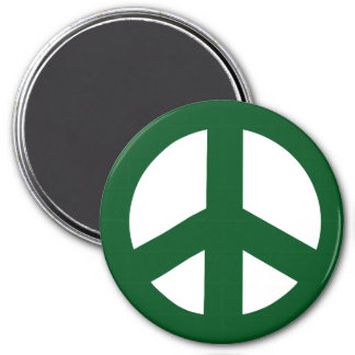 Round Peace Sign Magnet, Green on White Magnet