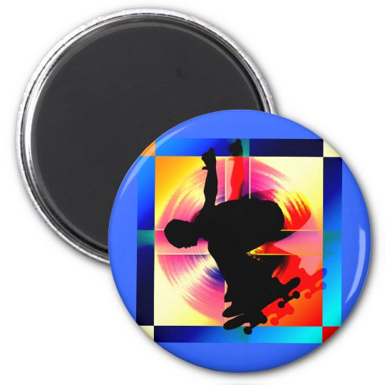 Round Peg in a Square Hole Skateboarding 2 Inch Round Magnet