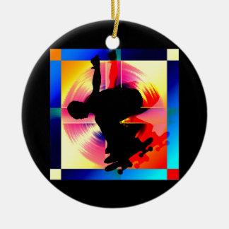 Round Peg in a Square Hole Skateboarding Ceramic Ornament