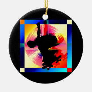 Round Peg in a Square Hole Skateboarding Christmas Ornament
