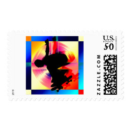 Round Peg in a Square Hole Skateboarding Postage