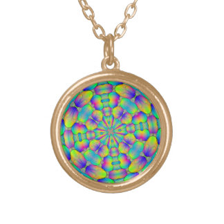 Round pendant , multi coloured abstract