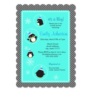 Round penguins boy baby shower 5 x 7 invitation