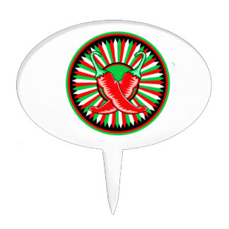 Round pepper seal green red cake topper