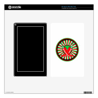 Round pepper seal green red kindle fire skins