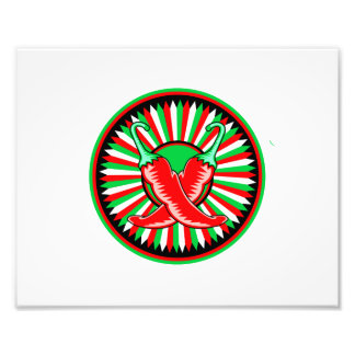 Round pepper seal green red photo print