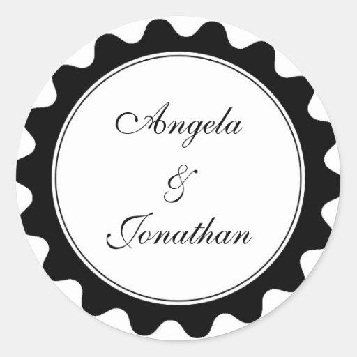 Round petal black wedding favor name tag label classic round sticker