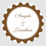 Round petal brown wedding favor name tag label stickers