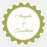 Round petal green wedding favor name tag label round sticker