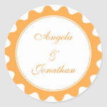 Round petal orange wedding favor name tag label sticker