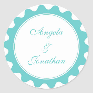 Round petal teal blue wedding favor name tag label classic round sticker