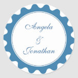 Round petal true blue wedding favor name tag label stickers