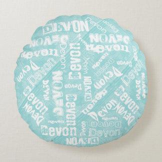 Round Pillow, Aqua Ice Blue and White Baby Name! Round Pillow