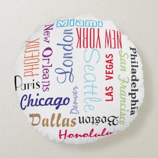 Round Pillow, Custom City Travel Destinations Round Pillow