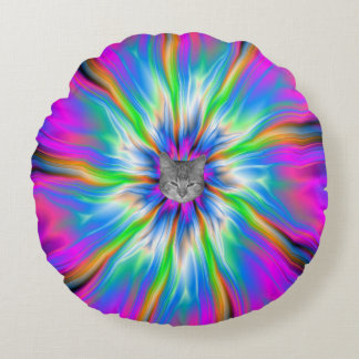 Round Pillow  Exploding Palette of Blue and Pink