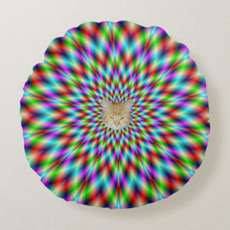 Round Pillow  Neon Star Exploding