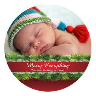 Round Pine & Lace Christmas Holiday Photo Card