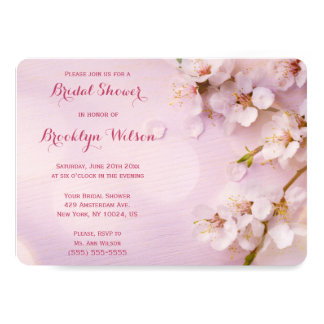 Round Pink Cherry Blossom Bridal Shower Invites