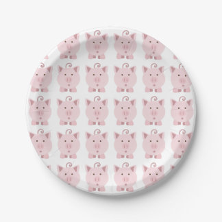 Round Pink Pig Pattern Paper Plate