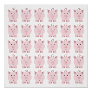 Round Pink Pig Pattern Poster