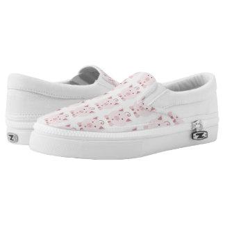 Round Pink Pig Pattern Slip-On Sneakers