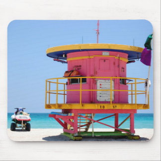 round pink yellow lifeguard stand mouse pad