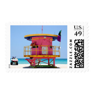 round pink yellow lifeguard stand postage