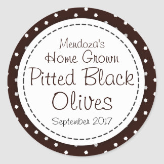 Round pitted black olives jam jar food label classic round sticker