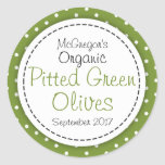 Round pitted green olives jam jar food label classic round sticker