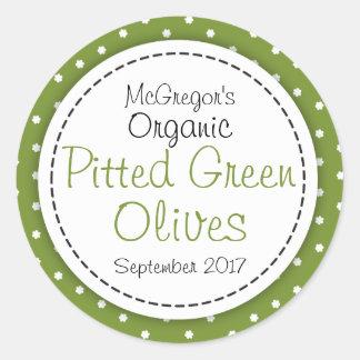 Round pitted green olives jam jar food label sticker