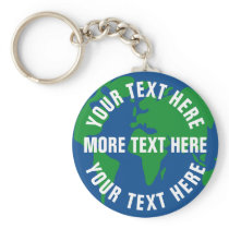Round planet earth keychains with custom text