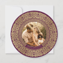 Round Plum+Faux Gold Celtic Holiday Photo Card