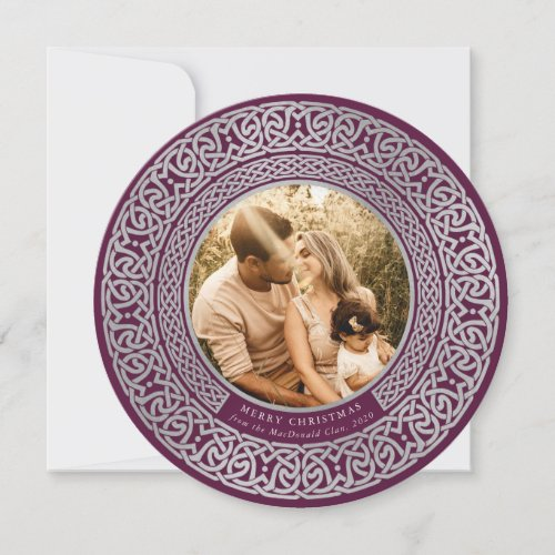 Round Plum+Faux Silver Celtic Holiday Photo Card