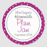 Round plum preserve or jam jar food label classic round sticker
