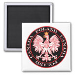 Round Poland Canada Red Eagle Magnets