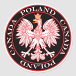Round Poland Canada Red Eagle Round Stickers