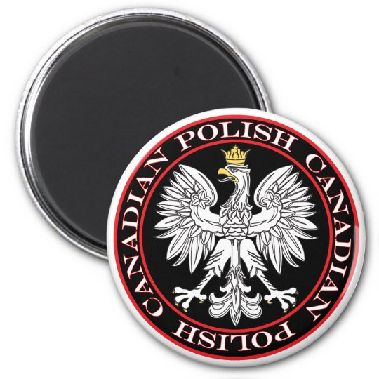 Round Polish Canadian Eagle Magnet