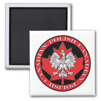 Round Polish Canadian Leaf 2 Inch Square Magnet