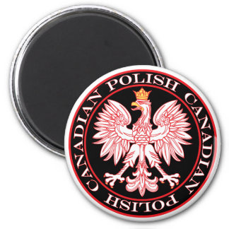 Round Polish Canadian Red Eagle 2 Inch Round Magnet