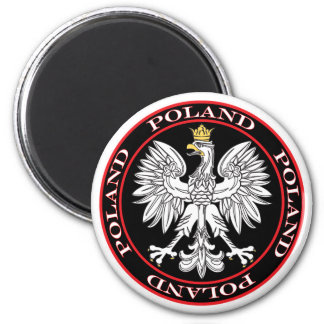 Round Polish Eagle Magnet
