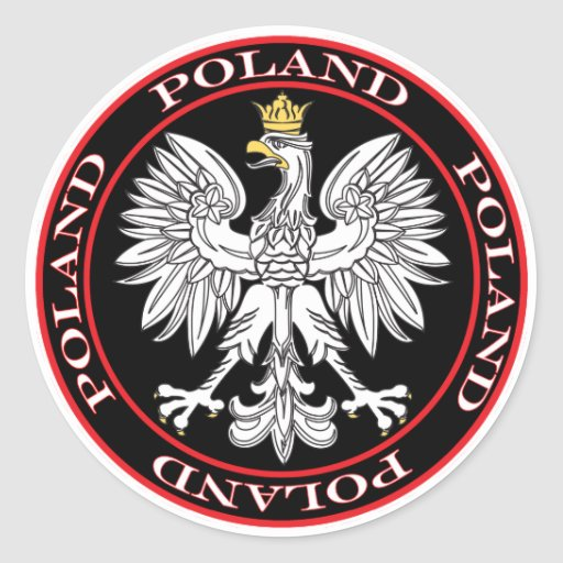 Round Polish Eagle Round Stickers