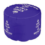 [Crown] keep calm and go broncos!  Round Pouf