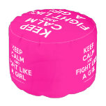 keep calm and fight like a girl  Round Pouf