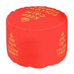 [Crown] keep calm and follow thierry  Round Pouf
